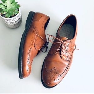 Allen Edmonds Wingtip Derby Tan Leather Dress Shoe